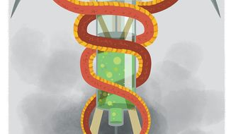 Illustration on physician-assisted suicide by Linas Garsys/The Washington Times