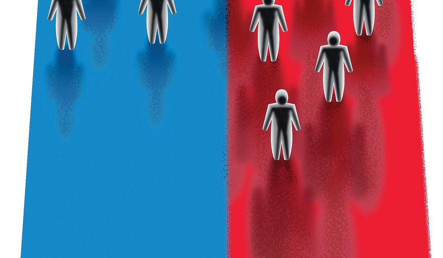 Illustration on assumptions about Trump supporters by Linas Garsys/The Washington Times