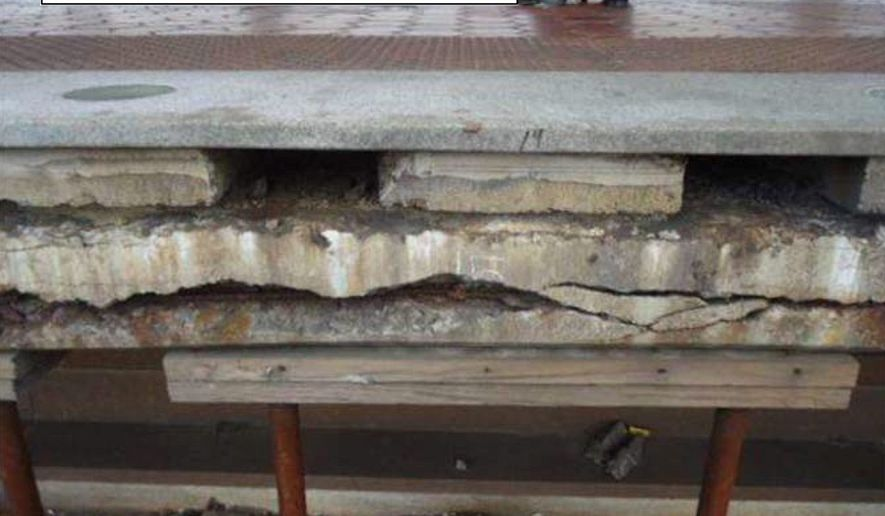 This recent photo of a Metro train platform shows the crumbling foundation of the platform. Metro is undertaking a $400 million project to repair and rebuild 20 subway station platforms. (Photo courtesy of Metro)