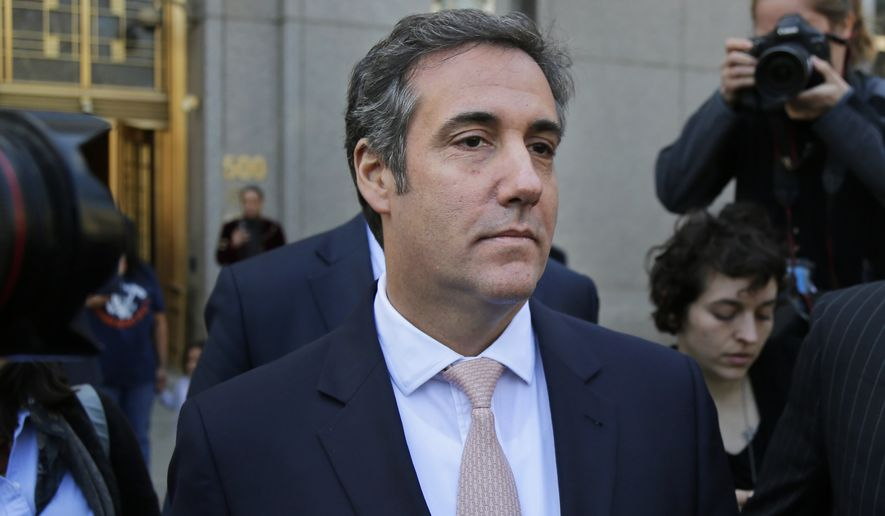 "Michael Cohen leaves federal court in New York, Thursday, April 26, 2018. President Donald Trump said that his personal attorney Cohen represented him ""with this crazy Stormy Daniels deal,"" after previously denying any knowledge of a payment Cohen made to the porn actress who alleges an affair with Trump. (AP Photo/Seth Wenig)"