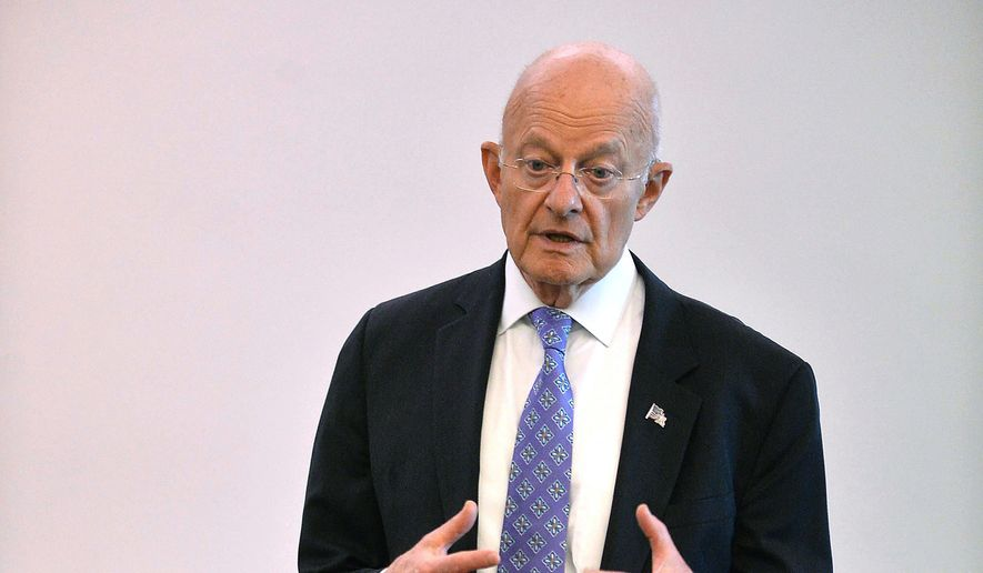 James R. Clapper, former director of National Intelligence under President Barack Obama, answers questions from high school and college students prior to the annual Erie County Bar Association Law Day luncheon at the Bayfront Convention Center in Erie, Pa., on Wednesday, May 9, 2018. Clapper, 77, was the keynote speaker at the luncheon. (Christopher Millette/Erie Times-News via AP) ** FILE **