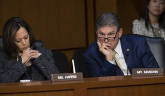Sen. Kamala Harris, D-Calif., left, and Sen. Joe Manchin, D-W.Va., listen to Gina Haspel, President Donald Trump's pick to lead the Central Intelligence Agency, during her confirmation hearing before the Senate Intelligence Committee, on Capitol Hill in Washington, Wednesday, May 9, 2018. Haspel, a 61-year-old career undercover spy, is a 33-year veteran at the agency in foreign and domestic assignments, and if confirmed, would be the CIA's first female director. (AP Photo/J. Scott Applewhite)
