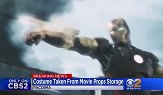 """A $320,000 """"Iron Man"""" prop from the 2008 Marvel Studios film was reported stolen in Pacoima, California, May 8, 2018. (Image: CBS-2 Los Angeles screenshot)"""