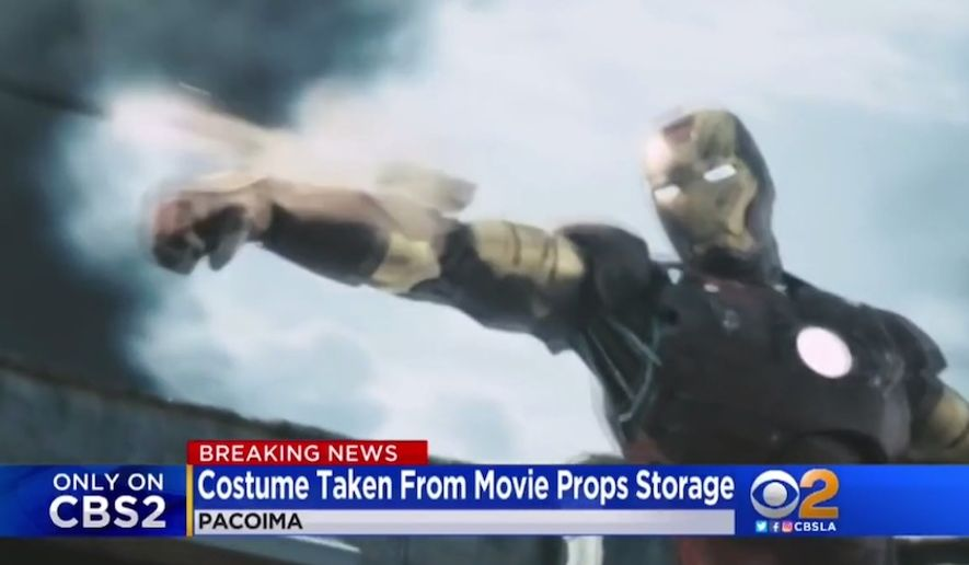 "A $320,000 ""Iron Man"" prop from the 2008 Marvel Studios film was reported stolen in Pacoima, California, May 8, 2018. (Image: CBS-2 Los Angeles screenshot)"