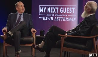 """Comedian Jerry Seinfeld discusses the profession with David Letterman on the set of Netflix's """"My Next Guest Needs No Introduction,"""" May 8, 2017, in Los Angeles. (Image: YouTube, Netflix promotional material screenshot)"""