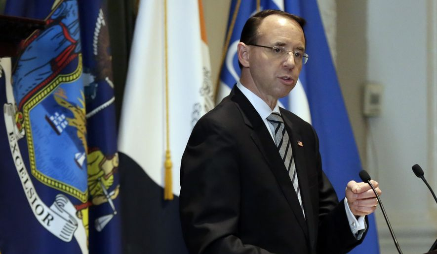 Deputy Attorney General Rod Rosenstein, who has drawn the ire of President Donald Trump for his oversight of investigations of Trump associates, delivers a speech on white collar crime at the New York City Bar Association, in New York, Wednesday, May 9, 2018. (AP Photo/Richard Drew)