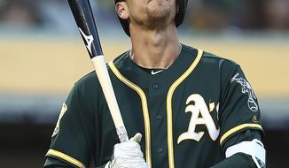 Oakland Athletics' Stephen Piscotty closes his eyes as he acknowledges a standing ovation from fans during the third inning of a baseball game against the Houston Astros Tuesday, May 8, 2018, in Oakland, Calif. Piscotty made his first appearance in a game since the death of his mother, Gretchen Piscotty, on Sunday, less than a year after being diagnosed with amyotrophic lateral sclerosis (ALS), a neuromuscular disorder also known as Lou Gehrig's disease. (AP Photo/Ben Margot)