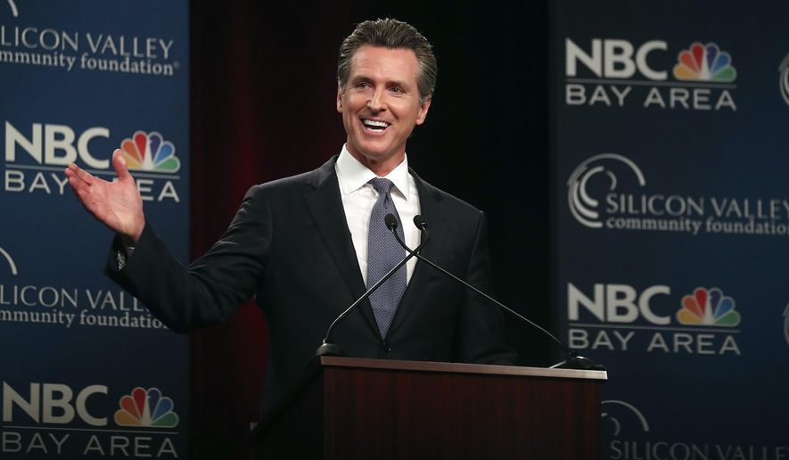 Democratic gubernatorial candidate Gavin Newsom speaks during a debate at the California Theatre, Tuesday, May 8, 2018, in San Jose, Calif. (Aric Crabb/San Jose Mercury News-Bay Area News Group via AP)