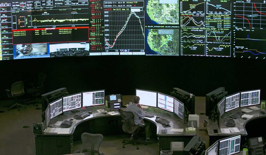 In this Aug. 18, 2017, file photo, electrical power flow and conditions are monitored at the California Independent System Operator grid control center in Folsom, Calif. (AP Photo/Rich Pedroncelli, File)