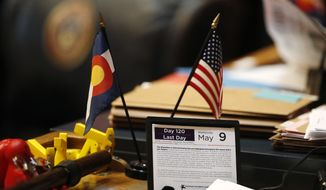 The calendar on a desk of a Colorado state senator marks the final day of the session Wednesday, May 9, 2018, in Denver. (AP Photo/David Zalubowski)