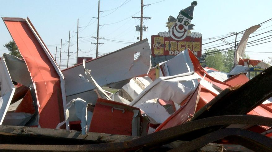 The Circus Drive-In on Route 35 in Wall Township, N.J., is demolished bu Lerch Wrecking Wednesday, May 9, 2018. The Circus Drive-In has been a fixture for generations of families heading to the Jersey Shore and nearby residents since 1954. (Thomas P. Costello/The Asbury Park Press via AP)