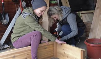 In a Tuesday, May 1, 2018 photo, Little Free Garden co-founders Gia Rassier and Megan Myrdal assemble a garden box, in Moorhead, Minn. They've built and delivered dozens of boxes in Fargo-Moorhead in the past two years. Little Free Garden co-founders Gia Rassier and Megan Myrdal thought they could replicate that same small-is-beautiful vibe as the Little Free Library movement with little garden plots by the curb. (Dan Gunderson/Minnesota Public Radio via AP)