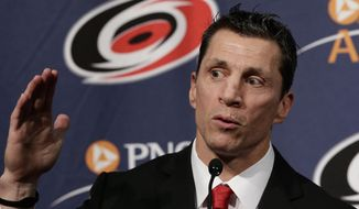 Carolina Hurricanes new head coach Rod Brind'Amour makes remarks during an NHL hockey introductory news conference in Raleigh, N.C., Wednesday, May 9, 2018. . (AP Photo/Gerry Broome)