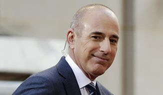 """In this April 21, 2016, file photo, Matt Lauer, co-host of the NBC """"Today"""" television program, appears on set in Rockefeller Plaza, in New York.  NBC has concluded in an internal investigation ordered after Lauer's firing that it does not believe there is a culture of sexual harassment in its news division. The network says that more needs to be done to ensure employees know how to report complaints about misconduct and not fear retaliation. To that end, NBC News Chairman Andy Lack said Wednesday, May 9, 2018,  that he's creating a way for employees to make such complaints to a figure outside the company. (AP Photo/Richard Drew, File)"""