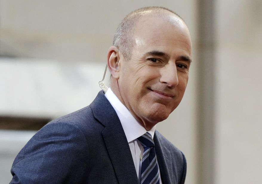 "In this April 21, 2016, file photo, Matt Lauer, co-host of the NBC ""Today"" television program, appears on set in Rockefeller Plaza, in New York.  NBC has concluded in an internal investigation ordered after Lauer's firing that it does not believe there is a culture of sexual harassment in its news division. The network says that more needs to be done to ensure employees know how to report complaints about misconduct and not fear retaliation. To that end, NBC News Chairman Andy Lack said Wednesday, May 9, 2018,  that he's creating a way for employees to make such complaints to a figure outside the company. (AP Photo/Richard Drew, File)"