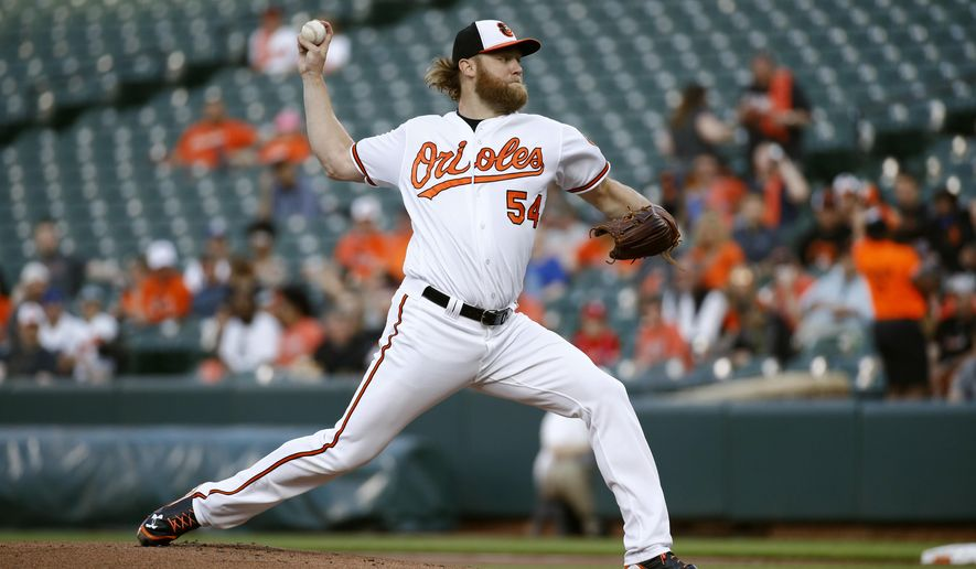 Baltimore Orioles starting pitcher Andrew Cashner throws to a Kansas City Royals batter during the first inning of a baseball game Wednesday, May 9, 2018, in Baltimore. (AP Photo/Patrick Semansky)