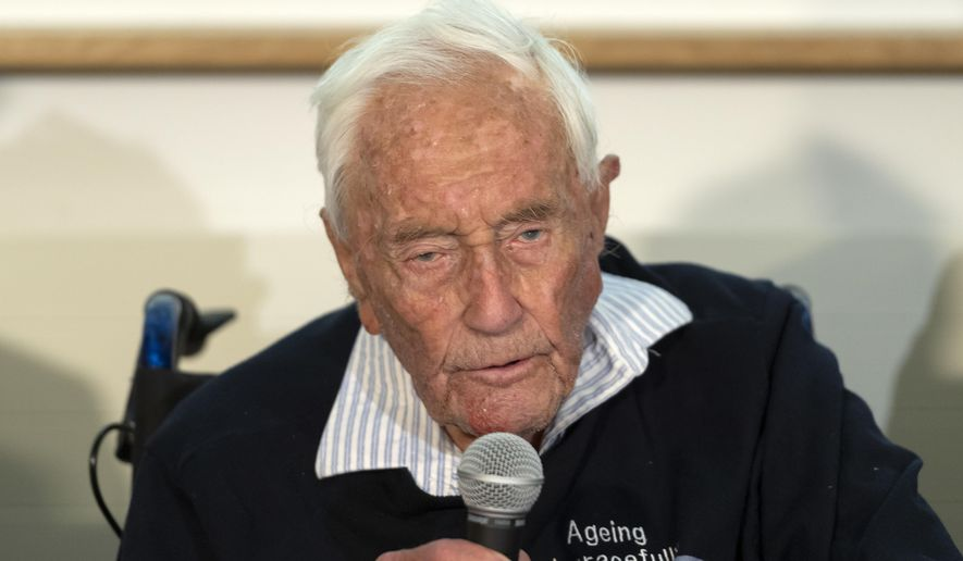 104-year-old Australian scientist David Goodall speaks during a press conference a day before his assisted suicide in Basel, Switzerland, on Wednesday, May 9, 2018. (Georgios Kefalas/Keystone via AP)