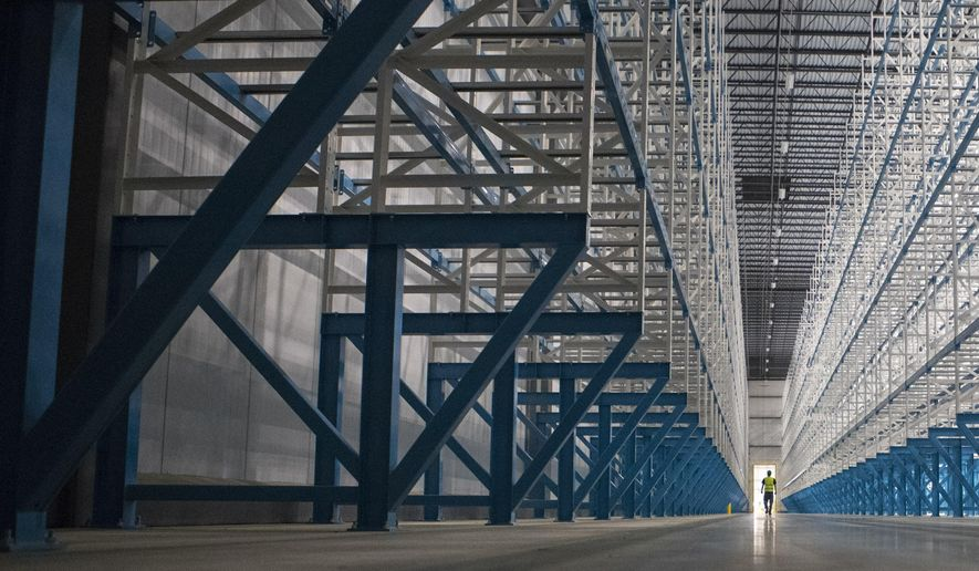 A Tuesday, May 8, 2018 photo shows the Interior of Win Chill, a new refrigerated warehouse, in Sioux Falls, S.D.    (Loren Townsley /The Argus Leader via AP)
