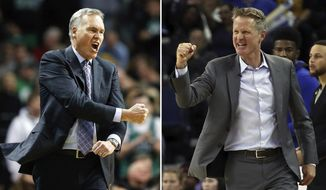 FILE - At left, in a Dec. 28, 2017, file photo, Houston Rockets head coach Mike D'Antoni reacts to a call during the third quarter of an NBA basketball game against the Boston Celtics in Boston. At right, in a March 14, 2018, file photo, Golden State Warriors coach Steve Kerr during the second half of the team's NBA basketball game against the Los Angeles Lakers in Oakland, Calif. The series that everyone in the NBA apparently wanted to see is about to happen. (AP Photo/File)
