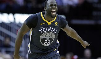 FILE - In this Jan. 20, 2018, file photo, Golden State Warriors forward Draymond Green (23) reacts after scoring against the Houston Rockets during the second half of an NBA basketball game, in Houston. The buildup to this Golden State-Houston matchup in the Western Conference finals started in February, when Draymond Green had some pointed comments. Or in October, when the Rockets beat the Warriors on ring night. Or in June, when Chris Paul got traded. Whatever the case, the series that everyone in the NBA apparently wanted to see is about to happen. (AP Photo/Michael Wyke, File)