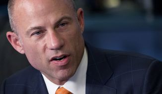 Michael Avenatti, Stormy Daniel's attorney, is interviewed on the Cheddar network, Thursday, May 10, 2018, in New York. (AP Photo/Mark Lennihan)