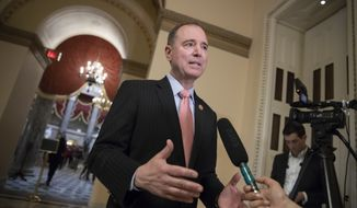 Rep. Adam Schiff, D-Calif., ranking member of the House Intelligence Committee, takes questions from reporters at the Capitol in Washington, Thursday, May 10, 2018. (AP Photo/J. Scott Applewhite) ** FILE **