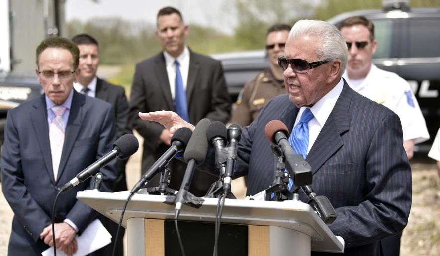 In this Wednesday, May 9, 2018 photo, Warren Police Commissioner Bill Dwyer speaks during the press conference in Macomb Township, Mich. Dwyer told reporters Wednesday that investigators suspect 69-year-old Arthur Ream, a man serving life for the 1986 killing of a Detroit-area girl, could be responsible for cold-case slayings of other girls reported missing decades ago.  (Todd McInturf/Detroit News via AP)