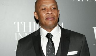 """FILE - In this Nov. 5, 2014 file photo, Dr. Dre attends the WSJ. Magazine 2014 Innovator Awards at MoMA in New York. Dr. Dre has lost his trademark fight against Dr. Drai. The rapper objected to the trademark application of the Pennsylvania gynecologist whose nickname is spelled differently but sounds the same. Dr. Draion M. Burch's website advertises that he's an """"obgyn and media personality."""" (Photo by Andy Kropa/Invision/AP, File)"""