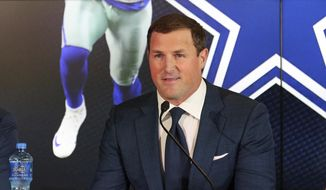 In this May 3, 2018, file photo, Dallas Cowboys tight end Jason Witten announces his retirement from football at the NFL team's training facility and headquarters in Frisco, Texas. Three new voices will work ESPN's Monday night games this NFL season: play-by-play announcer Joe Tessitore, analysts Jason Witten and Booger McFarland. (AP Photo/Richard Rodriguez, File)