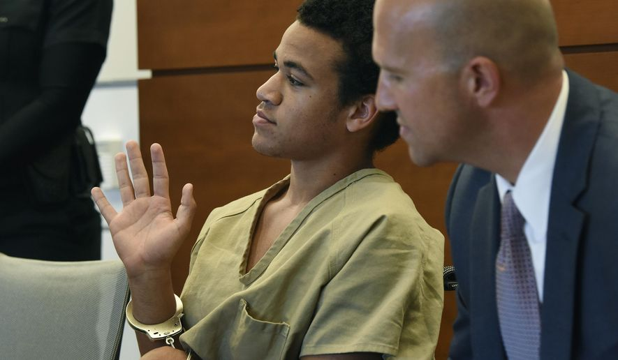 Zachary Cruz, left, gestures to the judge while seated with his attorney Mark S. Lowry, at a hearing on a probation violation in Fort Lauderdale, Fla., Thursday May, 3, 2018. Cruz, the brother of Florida school shooting suspect Nikolas Cruz, is getting out of jail again after violating probation for previously trespassing at Marjory Stoneman Douglas High School. (Taimy Alvarez /South Florida Sun-Sentinel via AP, Pool)