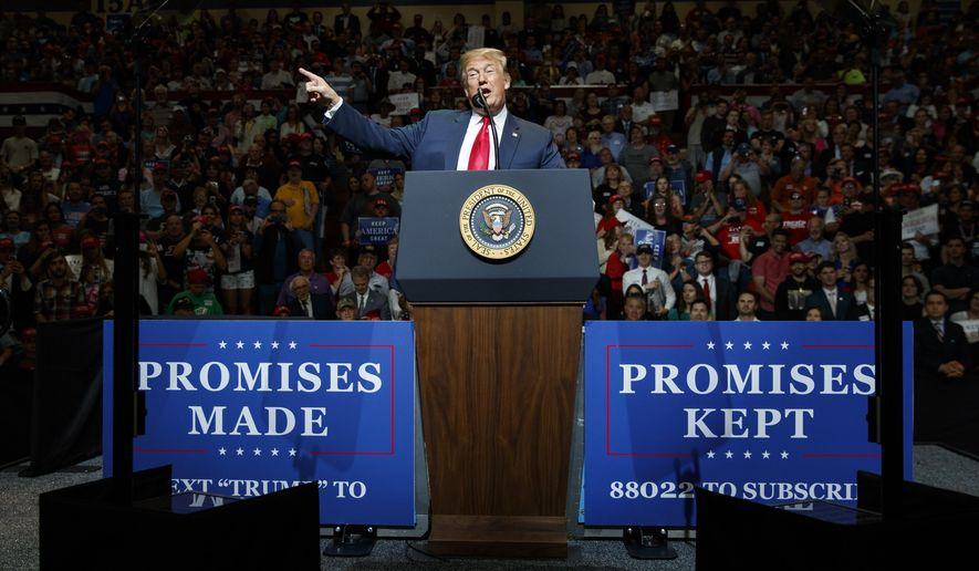 U.S. President Donald Trump speaks at the North Side Gymnasium in Elkhart, Ind., Thursday, May 10, 2018, during a campaign rally. (AP Photo/Carolyn Kaster)