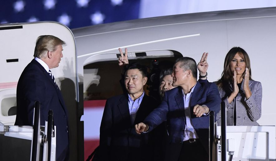 President Trump and first lady Melania Trump welcomed back Tony Kim, Kim Hak-song and Kim Dong-chul this month from North Korea, where the three Americans had been detained for more than a year. (Associated Press/File)
