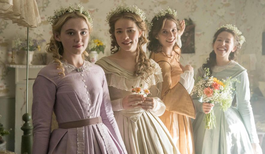 "This image released by PBS shows, from left, Kathryn Newton, Willa Fitzgerald, Maya Hawke and Annes Elwy in ""Little Women,"" airing on PBS Sundays, May 13 and May 20, (MASTERPIECE on PBS, BBC and Playground via AP)"