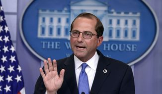 Health and Human Services Secretary Alex Azar speaks during the daily briefing at the White House in Washington, Friday, May 11, 2018. (AP Photo/Susan Walsh)
