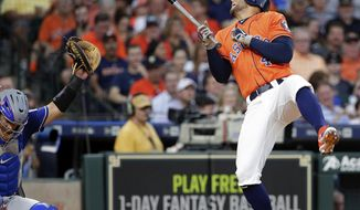 Houston Astros George Springer (4) reacts after getting hit by a pitch from Texas Rangers' Cole Hamels, in front of catcher Robinson Chirinos during the third inning of a baseball game Friday, May 11, 2018, in Houston. (AP Photo/Michael Wyke)