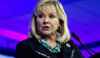 This Feb. 25, 2018, file photo shows Oklahoma Gov. Mary Fallin speaking during the panel Caring for our Veterans at the National Governor Association 2018 winter meeting in Washington. Fallin vetoed a bill late Friday, May 11, 2018, that would have authorized adults to carry firearms without a permit or training, dealing a rare defeat to the National Rifle Association in a conservative state. The veto comes after opposition from the business community and law enforcement authorities, including top officials with the Oklahoma State Bureau of Investigation who have said it could erode public safety. (AP Photo/Jose Luis Magana, File)