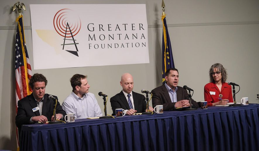 Grant Kier, second from right, answers a question Thursday, May 3, 2018, during a candidate debate put on by the Greater Montana Foundation at the Montana Historical Society in Helena, Mont. Other candidate taking part are, from left to right, John Heenan, Jon Meyer, Jared Pettinato and Kathleen Williams. (Thom Bridge/Independent Record via AP)
