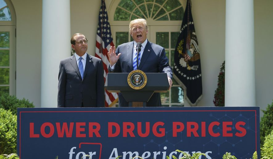 President Donald Trump speaks during an event about prescription drug prices with Health and Human Services Secretary Alex Azar in the Rose Garden of the White House in Washington, Friday, May 11, 2018. (AP Photo/Carolyn Kaster)