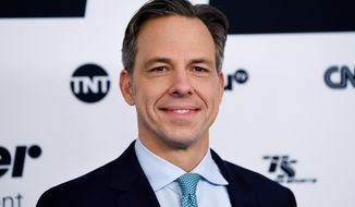 FILE - In this May 17, 2017 file photo, CNN News anchor Jake Tapper attends the Turner Network 2017 Upfront presentation in New York. Tapper is set to address graduates at the University of Massachusetts-Amherst's spring commencement, on Friday, May 11, 2018. (Photo by Evan Agostini/Invision/AP, File)