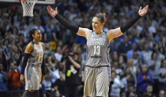 FILE - In this Oct. 4, 2017, file photo, Minnesota Lynx guard Lindsay Whalen acknowledges the crowd in the final seconds of the second half of Game 5 of the WNBA Finals against the Los Angeles Sparks in Minneapolis. With four WNBA championships in the last seven seasons, the Minnesota Lynx are well established as one of the true dynasties in league history. There's another goal they haven't accomplished, though, and that's win back-to-back titles. (Aaron Lavinsky/Star Tribune via AP, File)