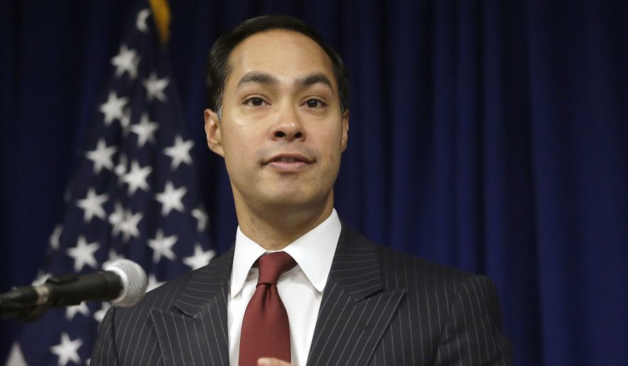 In this Aug. 31, 2016, file photo, then-U.S. Department of Housing and Urban Development Secretary Julian Castro speaks during a news conference in Providence, R.I. Castro is scheduled to deliver the commencement address at New England College, Saturday, May 12, 2018, in Henniker, N.H.(AP Photo/Steven Senne, File)