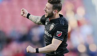 D.C. United forward Paul Arriola celebrates a goal against Real Salt Lake during an MLS soccer match in Sandy, Utah, Saturday, May 12, 2018. (Scott G Winterton/The Deseret News via AP)