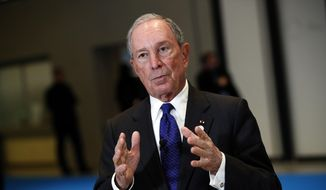 In this Dec. 12, 2017, file photo, the special envoy to the United Nations for climate change, Michael Bloomberg, addresses the media  at the One Planet Summit, in Boulogne-Billancourt, near Paris, France. (AP Photo/Christophe Ena)