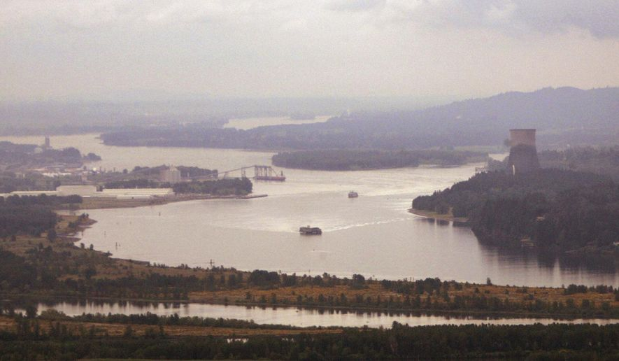 FILE - In this May 12, 2005, file photo, ships move through the Columbia River looking south from near Longview, Wash. Six Western states and several national industry groups have lined up against Washington state in a legal battle over its decision to reject permits for a massive proposed coal-export terminal on the Columbia River. (AP Photo/Elaine Thompson, file)