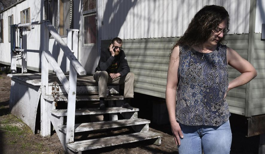 """The lowest-income renters in Montana have to spend a larger share of their income on housing than any other group, according to a new report from the Montana Budget and Policy Center. """"You don't have a home, you don't have anything,"""" says Lena Faulconbridge, of Missoula, Montana, who is facing an eviction notice because the trailer court she lives in is being developed into apartments. Faulconbridge was photographed outside her home on April 26. (Kurt Wilson /The Missoulian via AP)"""