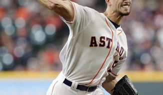 Houston Astros starting pitcher Charlie Morton throws against the Texas Rangers during the first inning of a baseball game Saturday, May 12, 2018, in Houston. (AP Photo/Michael Wyke)