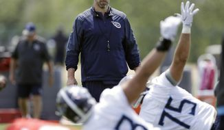 Tennessee Titans head coach Mike Vrabel watches as players stretch during NFL football rookie minicamp Saturday, May 12, 2018, in Nashville, Tenn. (AP Photo/Mark Humphrey)