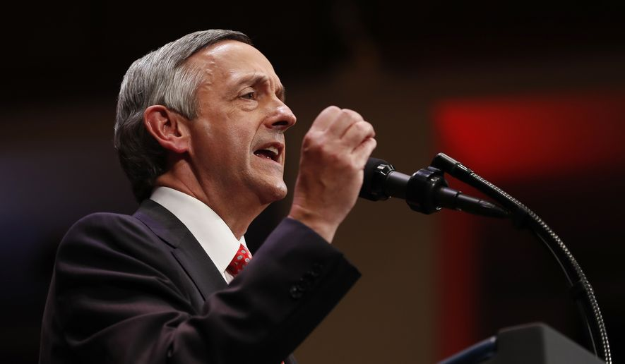 Pastor Robert Jeffress of the First Baptist Dallas Church Choir speaks as he introduces President Donald Trump sduring the Celebrate Freedom event at the Kennedy Center for the Performing Arts in Washington, Saturday, July 1, 2017. (AP Photo/Carolyn Kaster)