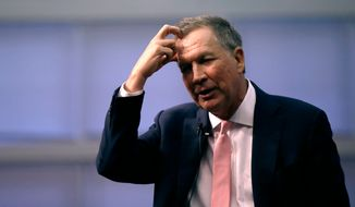 Republican Gov. John Kasich, a former 2016 Presidential hopeful, scratches his head during a visit to New England College in Henniker, N.H., Tuesday, April 3, 2018. Kasich restored Ohio's membership in the National Governors Association as he seeks to shore up credibility for bipartisan deal-making that could bolster a 2020 bid for president. (AP Photo/Charles Krupa)