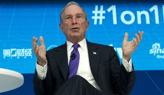 Former New York City Mayor and U.N. Special Envoy for Climate Action Michael Bloomberg speaks at World Bank/IMF Spring Meetings, in Washington, Thursday, April 19, 2018. (AP Photo/Jose Luis Magana) ** FILE **